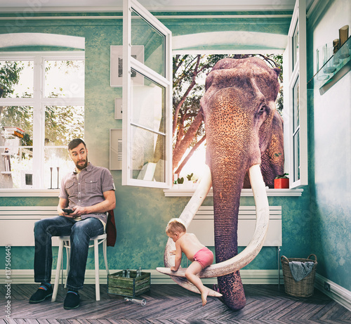 The elephant and the boy. Photo combination concept
