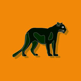 panther paper sticker on stylish background