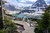 Mountain Goats and Hidden lake, Glacier National Park, Montana USA