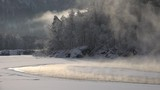 Altai river Katun at morning time in winter