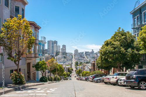 Vászonkép Streets with the slope in San Francisco, California, USA