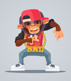 Cool monkey rapper character in modern clothes. Vector flat cartoon illustration - 137578430