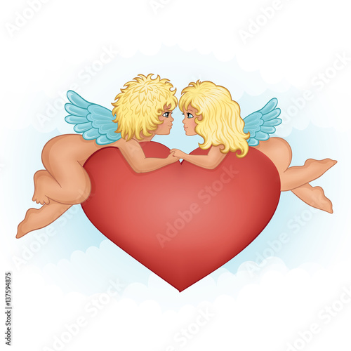 Angels girl and boy kissing holding hands