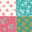 Vector set of seamless pattern with blooming peonies. Vintage floral background with peony silhouette