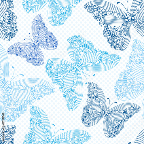 Seamless pattern with yand drawn zen art butterflies on a polka dot background.