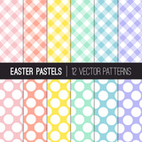 Fototapety Easter Colors Gingham Plaid and Jumbo Dots Vector Patterns. Soft Shades of Pink, Coral Orange, Yellow,  Turquoise, Blue and Lavender Purple. Pattern Tile Swatches Included.