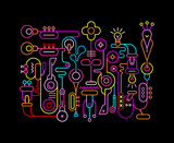Abstract art neon colors illustration