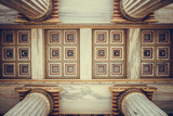 Athens, Greece - February 12, 2017: Neoclassical ceiling and columns, entrance of national Academy of Athens