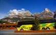 Birght yellow tour bus