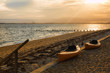Two Kayaks on the beach at Sunset in Truro, Cape Cod, Massachusetts