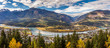 Panoramic view of the town of Revelstoke in Autumn, British Columbia, Canada