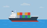 Cargo container ship transports containers at the blue ocean. Flat and solid color style vector illustration - 137633471