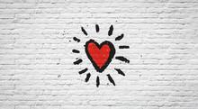 "Постер, картина, фотообои ""Coeur sur mur de briques"""
