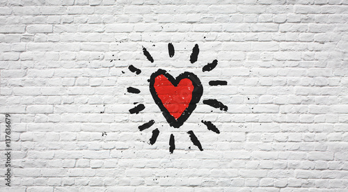 Fotobehang Graffiti Coeur sur mur de briques
