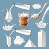 Set of 3D vector milk splash and pouring