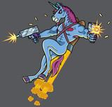 Unicorn Killer / Unicorn killer character shooting with Uzi guns.  - 137643605