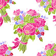 Seamless pattern, watercolor bouquet of flowers