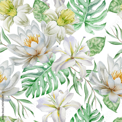 Seamless pattern with flowers. Narcissus. Lily. Monstera. Watercolor illustration. - 137652829