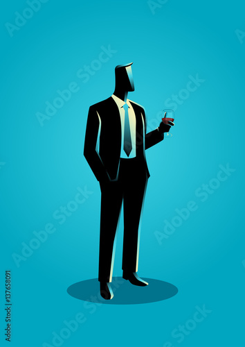 Businessman in formal suit holding a glass of wine