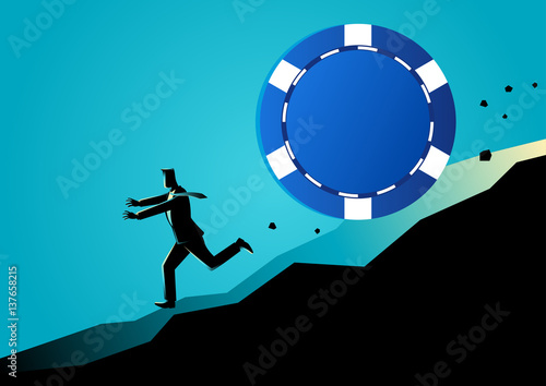 Businessman running away from big blue chip