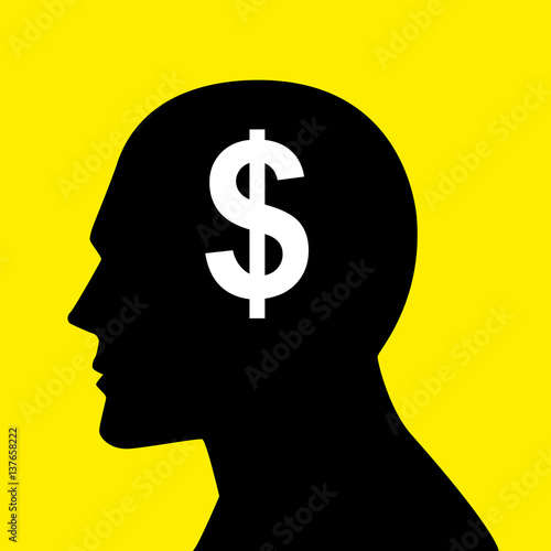 Mind concept graphic for money-oriented