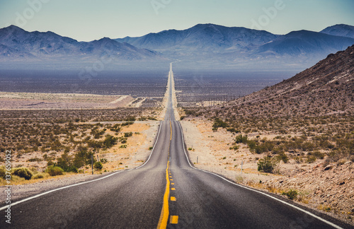 Canvas Route 66 Endless straight highway in the American Southwest, USA