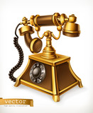 Vintage phone, 3d vector icon