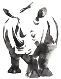 black and white monochrome painting with water and ink draw rhino illustration