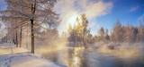 морозное утро в уральском лесу с рекой и туманом, Россия, март