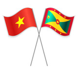 Vietnamese and Grenadian crossed flags. Vietnam combined with Grenada isolated on white. Language learning, international business or travel concept.