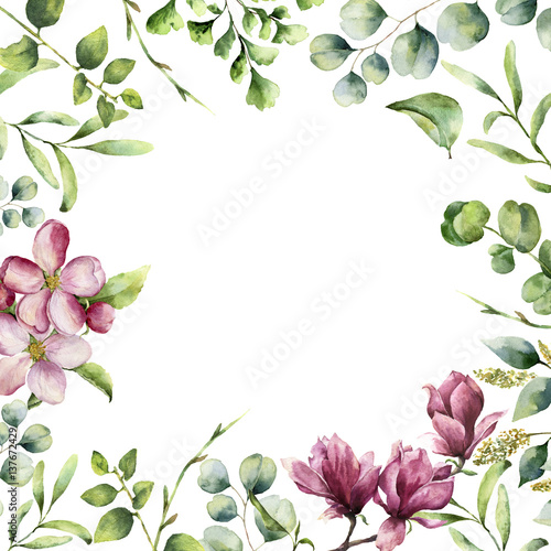 Fototapeta Watercolor floral frame with herbs and flowers. Hand painted plant card with eucalyptus, fern, spring greenery branches, cherry blossom and magnolia isolated on white background.