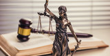 law theme, Justice Statue and Wooden gavel