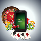 Vector casino logo. Includes roulette, casino chips, playing cards and mobile phone with text