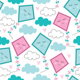 seamless kites flying pattern vector illustration