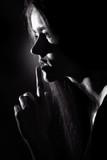 gesture finger secret girl concept