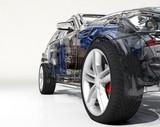 Transparent model cars.