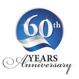Anniversary 60 th years celebrating logo silver white blue ribbon background