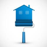 Roller brush icon. House renovation. Vector illustration.