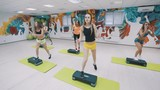 Female group doing aerobics in gym