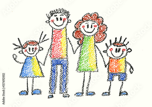 Kids drawing style Happy family Mother, father, son, daughter Happy boy and girl with parents - 137692002