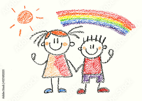 Happy boy and girl with rainbow Crayon illustration isolated on white background - 137692031