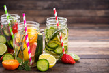 Fresh detox water with fresh fruits, vegetables and herbs