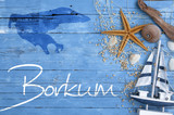 Maritime Postkarten mit Inseln und Dekoration Borkum