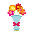 cute bouquet of flowers nature icon vector illustration design