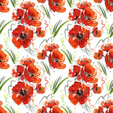 Seamless pattern with red poppies and green grass on a white background,  abstract drawing, bright colors.
