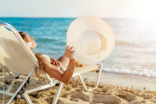 Cute Girl Relaxing On Summer Vacation