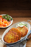 Golden Rosti with Dill Sauce and Smoked Salmon - 137699827