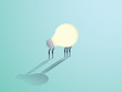 Group of businessmen carrying a lightbulb. Vector symbol of business creativity, innovation and brainstorming.