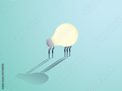 Fototapeta Group of businessmen carrying a lightbulb. Vector symbol of business creativity, innovation and brainstorming.