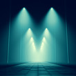 design element. 3D illustration. rendering. night dark park alley lights - 137701005